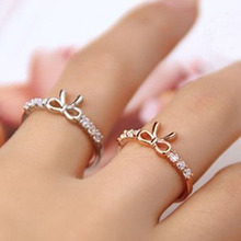 Hot Korean Jewelry Simple World Of Warcraft Crystal Bow Ring Bow Tie Beautiful Trendy Romantic Anneaux Ring For Wedding