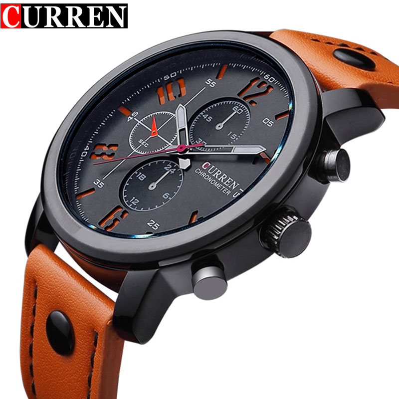 Moda marca reloj de cuarzo hombres correa de cuero casual reloj de negocios Militar deporte Relogio masculino montre Homme Curren 8192 nuevo