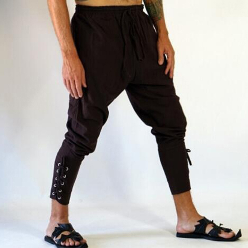 Trousers Banded-Pants Viking Loose Medieval Retro Casual Fashion Ankle Men's 3XL Lace-Up