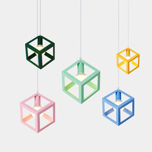 Macarons modern pendant lights colorful cube shape metal lamp body post children room study foyer decoration droplight