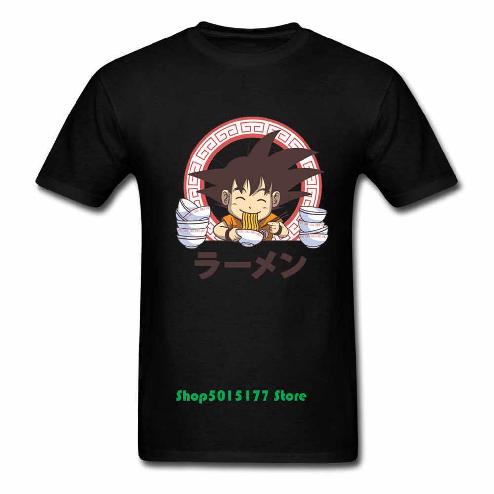 Новый Ретро японский аниме бренд Dragon Ball футболка для мужчин Cute Goku Super Saiyan Ramen футболка с круглым вырезом короткий рукав мультфильм герой