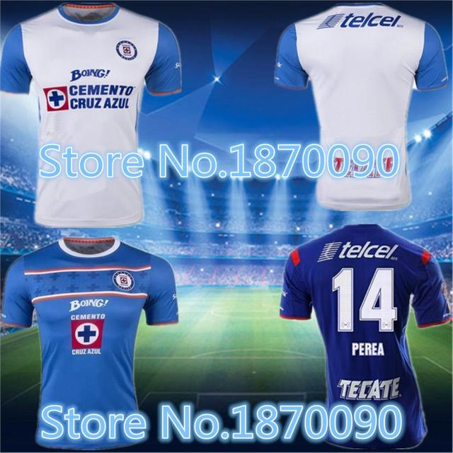 7c6796148d6 2015 2016 Cruz Azul Mexican company the best quality shirts Blue Cross Blue  and white soccer shirt home 15 16 soccer jersey