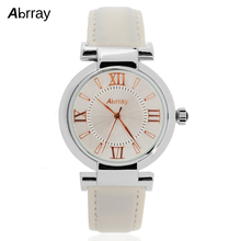 Abrray Fashion Casual 3ATM Waterproof Women Watch Roman Numerals Scale Watches White/Red Color Leather Strap Quartz Wristwatches