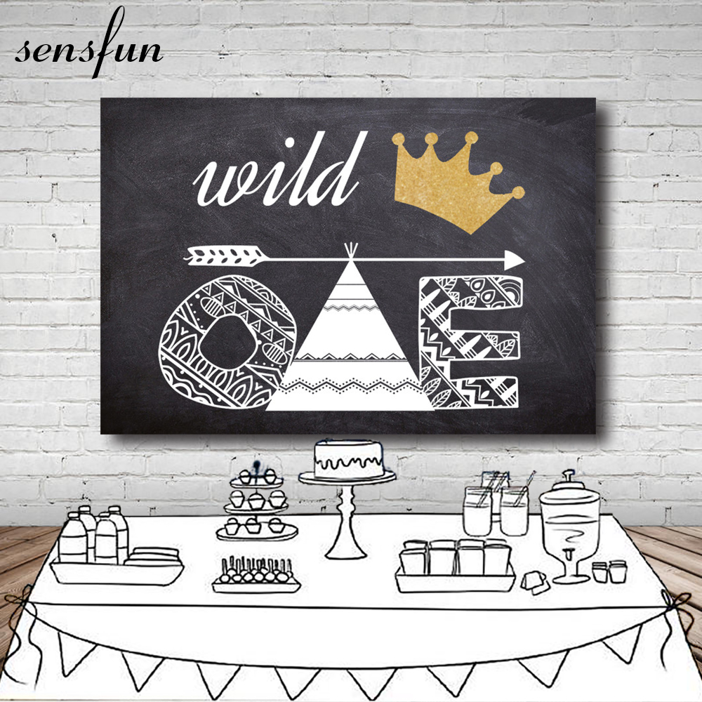 Sensfun Gold Crown Wild One Children Birthday Party Backdrop Tepee Photographic Backgrounds Studio New Photocall