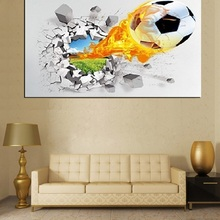 XQL ART Large Cute 3D HD Painting On Canvas(No Frame) Fire Football  Wall Artwork Picture for Kids Children Room Home Wall Decor