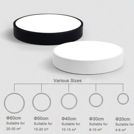 Modern Brief Round White/Black Frame Led Acrylic Ceiling Light for Living Room Home Light Fixture