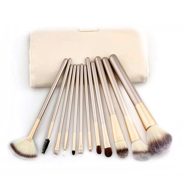12 unids/set Champán Suave Profesional de Lujo Verdadero Maquillaje Herramientas de Sombra de Ojos Blush Pinceles de Maquillaje Cosmético Conjunto Con la Bolsa de Cuero