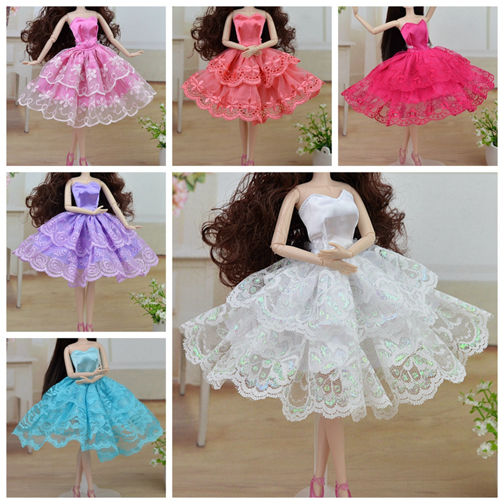 Bunte Handmade Ballett Kleid Partei Kleid Prinzessin Spitze Kleidung Outfit Für Barbie Puppen Mädchen Beste Weihnachtsgeschenk Baby Spielzeug