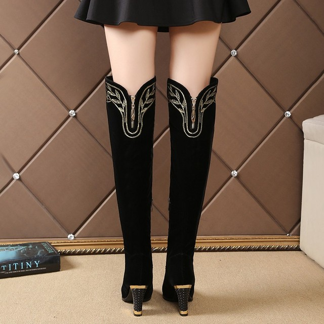 Suede Knee high Metal Fashion Boots  2