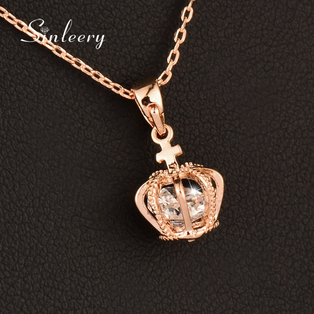SINLEERY Classic Small Crown Pendant Crystal Necklaces White/Rose Gold Color Jewelry For Female Valentine's day Gift Xl032