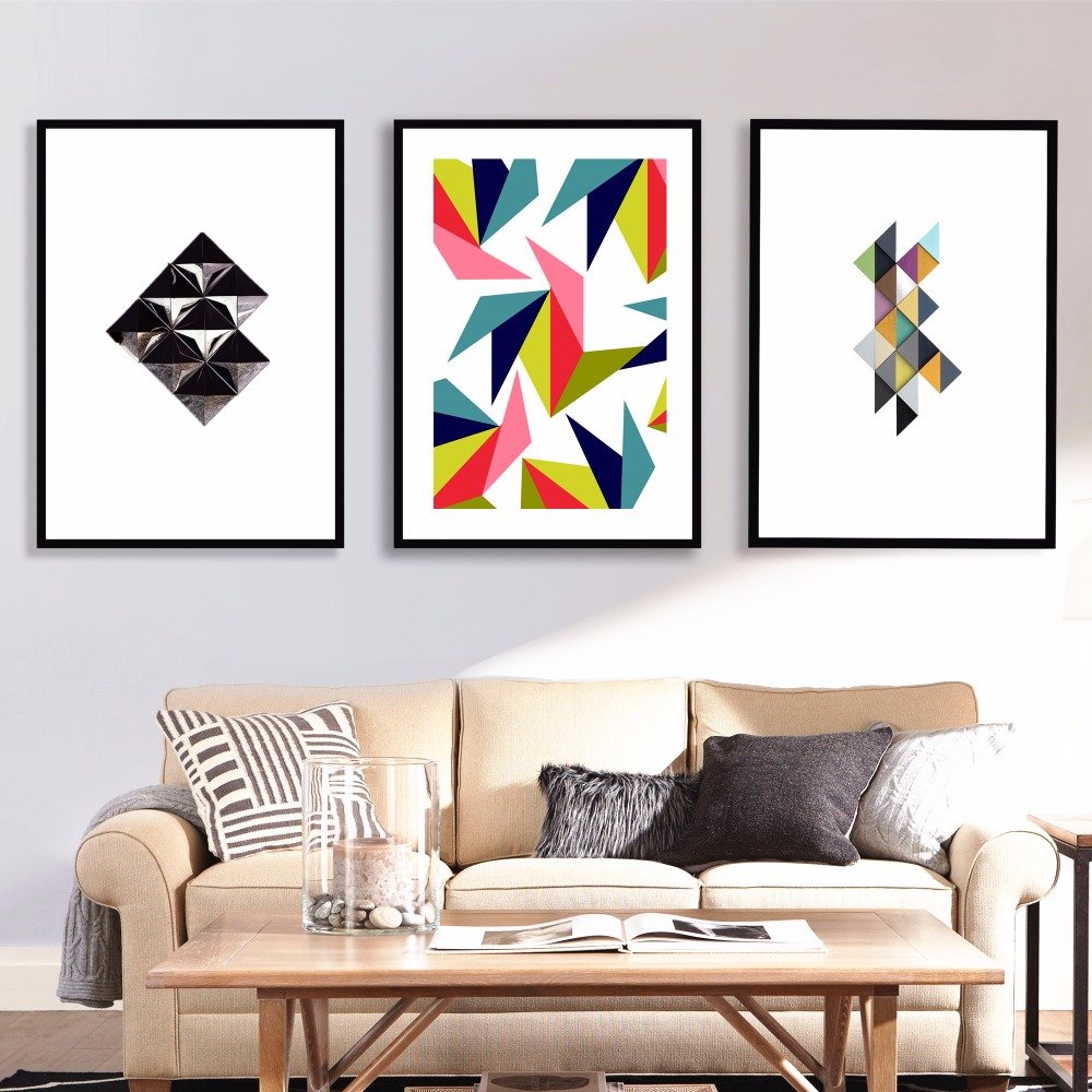 Scandinavian Geometric Artwork Canvas Art Print Painting Poster Wall ...