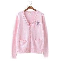 Xs xl Autumn Top Women Sweater Knitwear Pink Soft Sister Lovely Cute Cartoon Japanese Jk Teens Girls Sweet Sweaters Cardigans