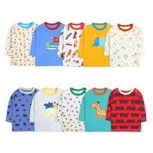[5 шт./лот, случайный цвет] футболка с длинными рукавами для маленьких мальчиков и девочек детская футболка с мультяшным принтом топы с круглым вырезом для младенцев, хлопковая одежда для новорожденных