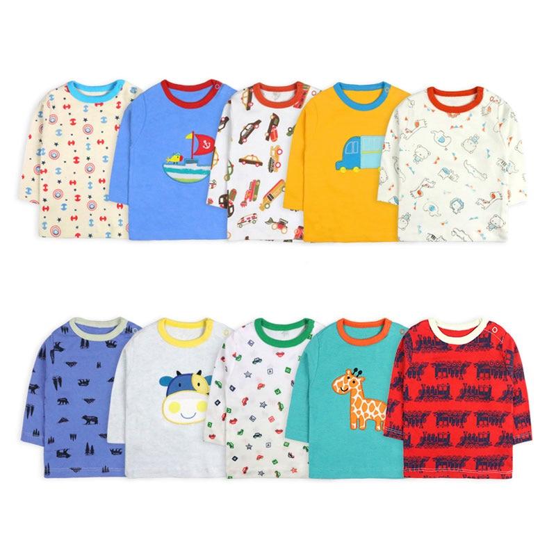 [5 Pcs/Lot Random Color]Baby Boy Girl Long Sleeve T-shirt Cartoon Print Baby T-Shirt O-Neck Infant Tops Cotton Newborn Clothes