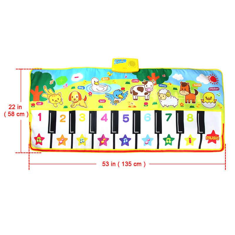 58x135 см музыкальный коврик развивающие игрушки животные Голос сенсорный Играть пианино для детей большой размер Забавный обучающий Поющий коврик