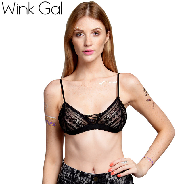 93eadb4f579 Wink Gal Strappy Bra Lace Bralette See Through Sexy Intimates Underwear Women  Bras For Women 10130