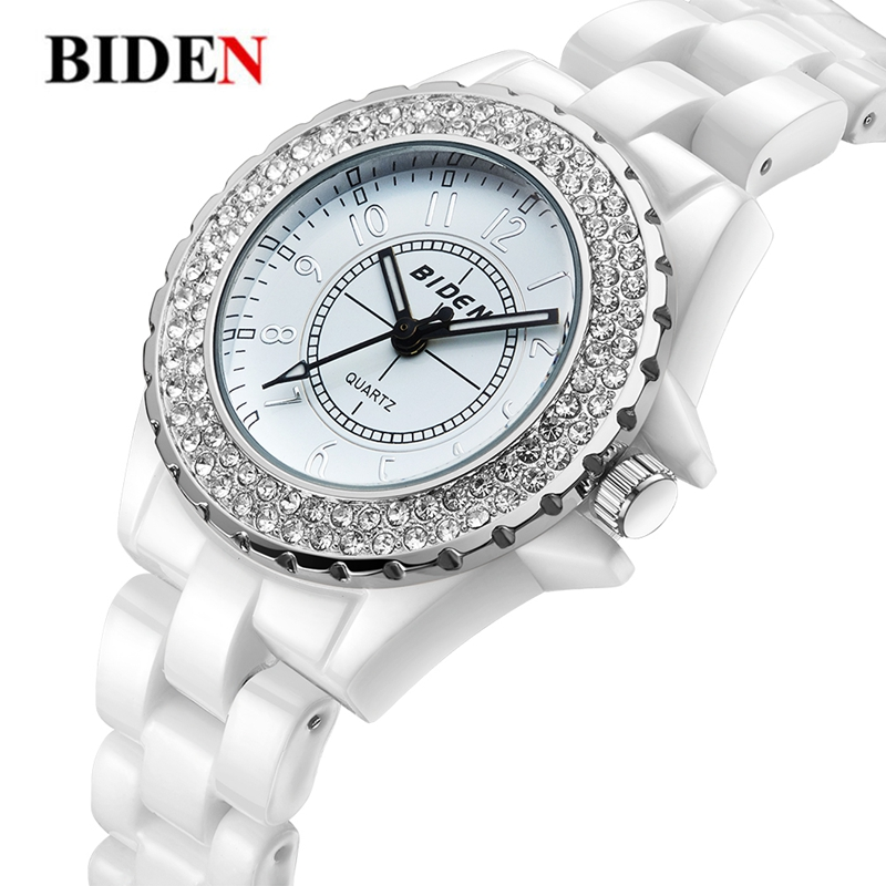 Top Luxury BIDEN Watches Ladies Fashion Crystal Rhinestone Women Quartz Ceramic Bracelet Charms Watch Women's Wrist Montre Femme цены