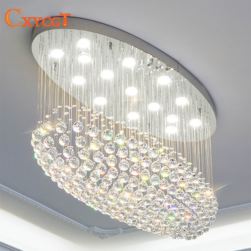 Modern oval LED k9 Crystal Chandelier Lighting for Living Room Bedroom Villa Kitchen Ceiling Lamp with remote controll modern mushroom chandelier pendant lamp with k9 crystal diamond on its cover for living room kitchen lighting