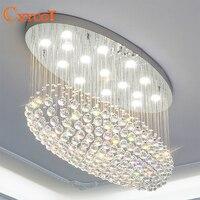 Modern Oval LED K9 Crystal Chandelier Lighting For Living Room Bedroom Villa Kitchen Ceiling Lamp With