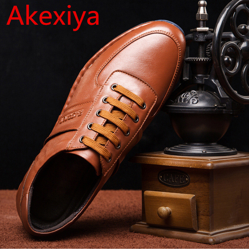 Avocado Store Akexiya 2017 New Fashion Design Casual Cow Leather Men's Shoes Genuine Leather Round Toe Men's Lace Up Flat Men Oxford Shoes