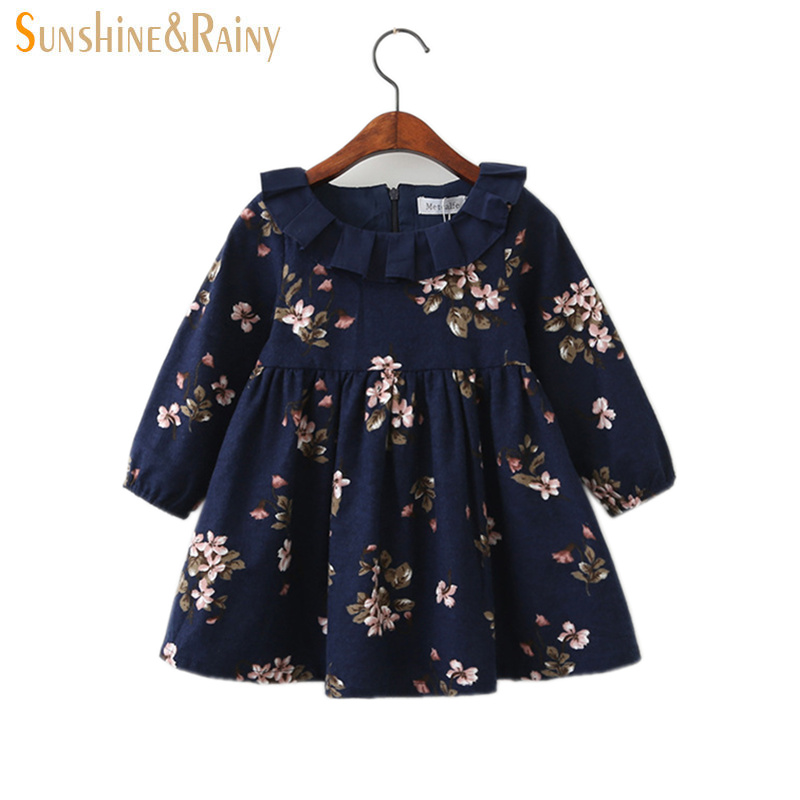 Sunshine & Rainy Autumn Floral Kids Dresses For Girls Korean Fashion Lace Collar Baby Girl Dress Flowers Printed Vestidos fashion toddler girls princess dress elegant floral bow vestidos for baby girl winter infant kids cotton lace dresses