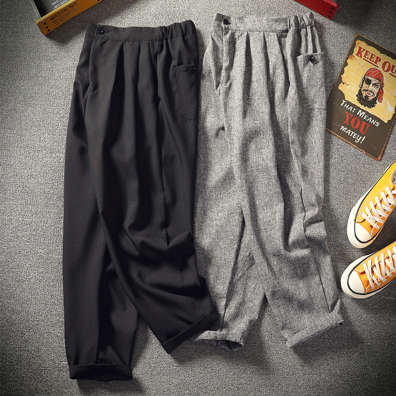 Men's Loose Extra-large King-size Leisure Linen Flaxen Sweatpants Cotton Long Trousers Chinese Style Harem Feet Pants