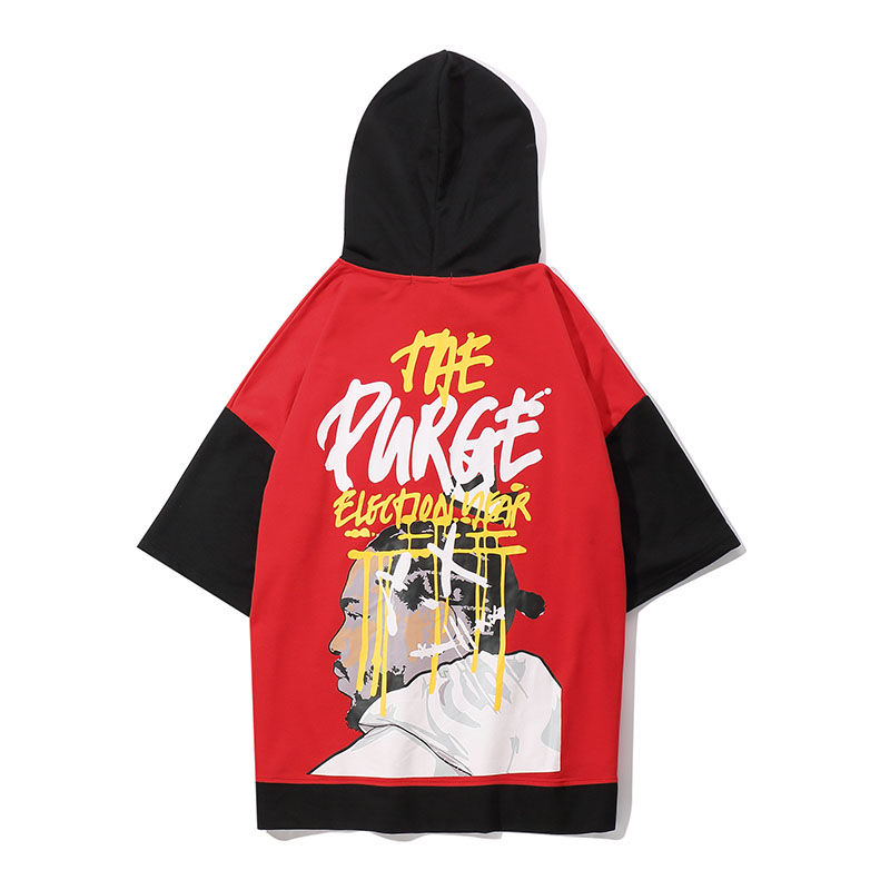Topdudes.com - The Purge Patchwork Hooded Harajuku Tees