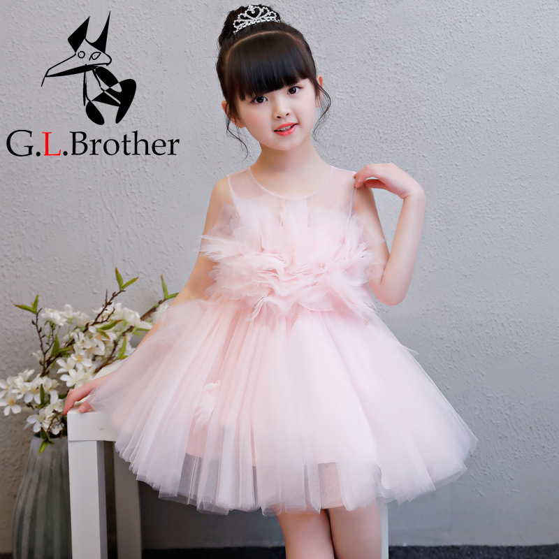 Pink Birthday Princess Dresses New Flower Girl Dresses Ball Gown Kids Pageant Gowns Wedding Girls Party Dress Summer Dress AA227 new flower girl dress white ball gown kids pageant dress wedding appliques girls party dress birthday princess dresses aa202