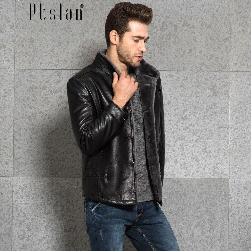Ptslan 2016 font b Men s b font font b Genuine b font font b Leather