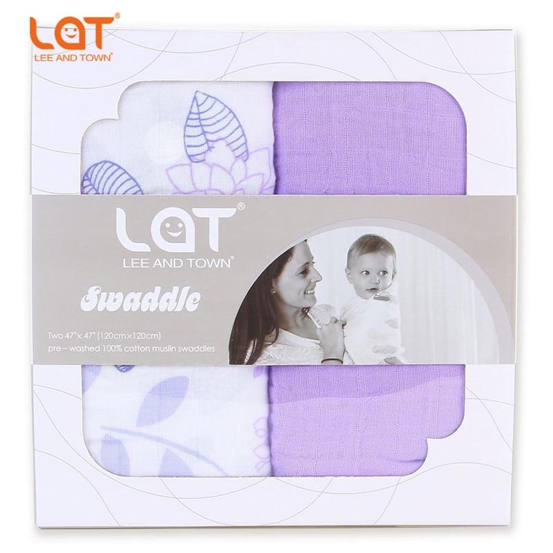 LAT Baby Set med 2 stora Premium Muslin Cotton Swaddle Wrap Mottagande filt 5-in-1 Swaddling Burp Cloths Car Seat Nursing Cover