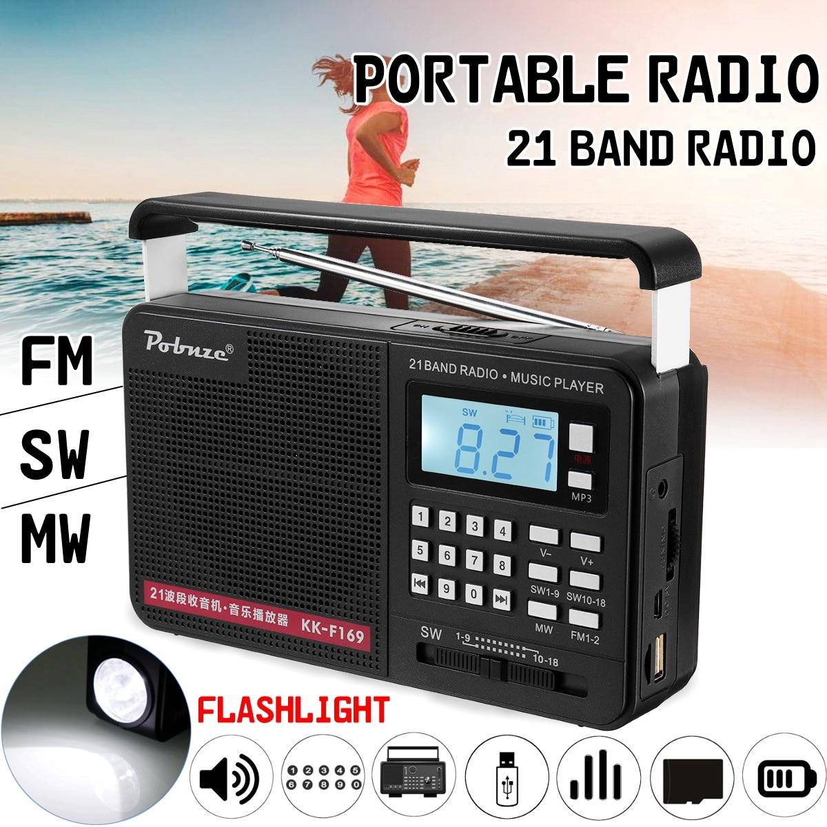 Handheld FM/MW/SW Volle Bands Internationalen LED Radio mit Taschenlampe MP3 Player Micro TF USB Outdoor Lautsprecher
