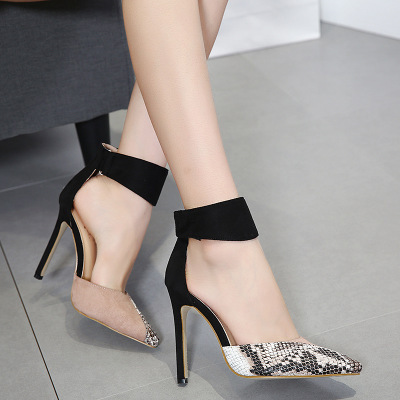 High Heels Ankle Hook-Loop Pointed Toe Stiletto Pumps Ladies Banquet Party Shoes 1