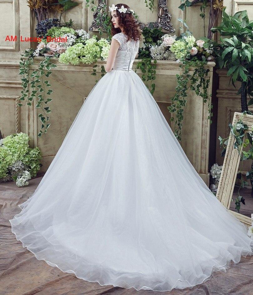 Long A Line Wedding Dresses Scoop Lace Pleat Court Train Bridal ...