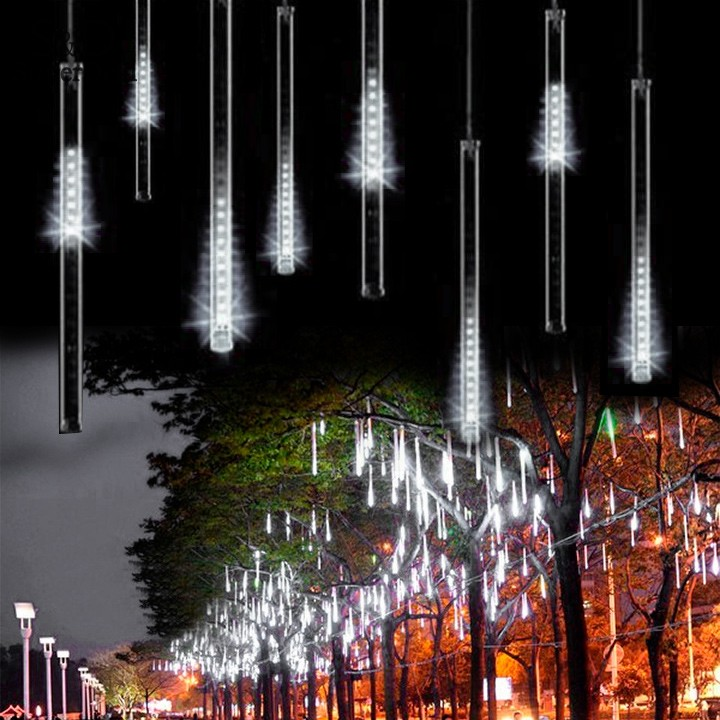 Elifine 50CM Romantic Meteor Shower Rain Tubes LED Christmas Wedding Garden Decoration String Light 100-240V/EU White #30-20 ...