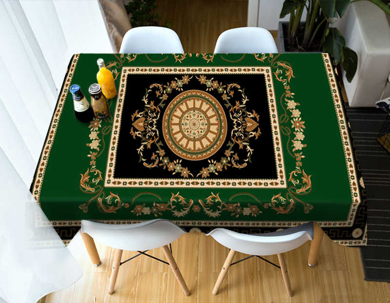 Fashion Flower Stripe Ethnic Style Pattern Tablecloth Washable Cotton Cloth Thicken Rectangular and Round Wedding Table Cloth