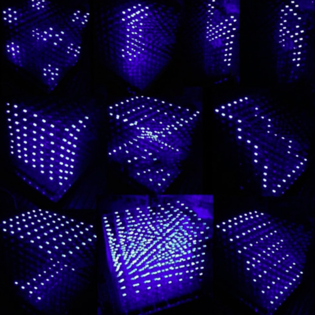 3D Squared DIY Kit 8x8x8 3mm LED Cube White LED Blue/Red Light PCB ...