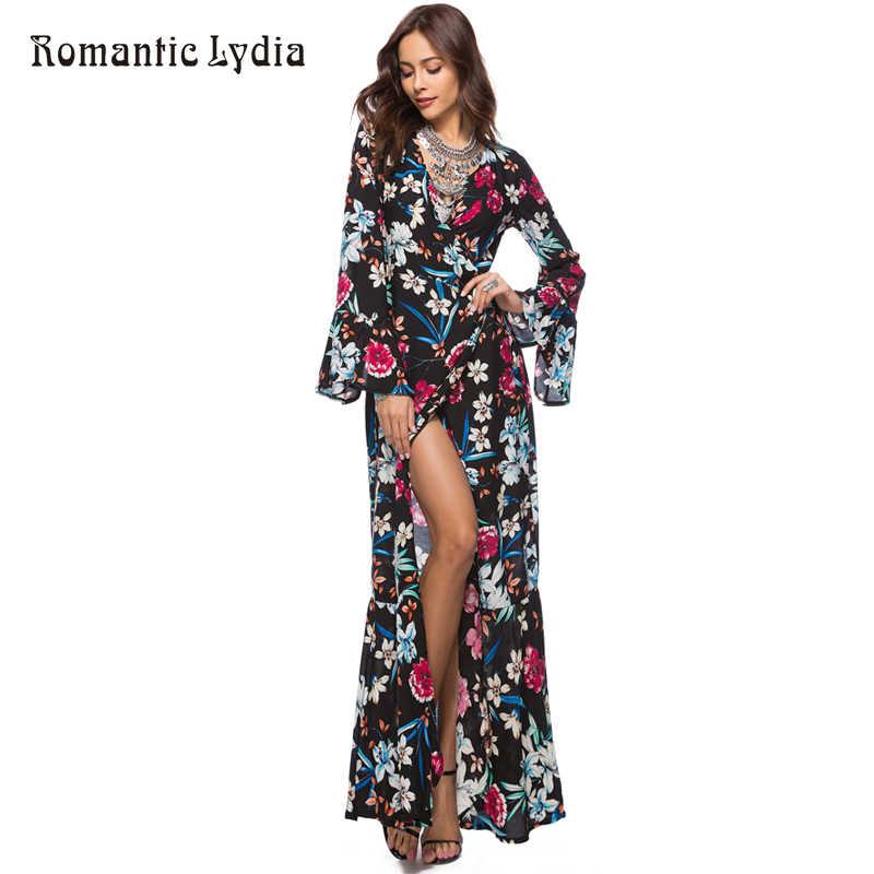 e801933dc8 ... Maxi Wrap Dress 2018 Spring Summer Women Boho Floral Beach Party Loose  Fashion Long Bohemian Dresses ...