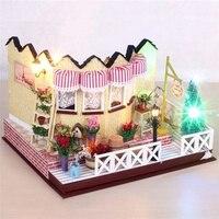 Hoomeda LY001 Herb Tea Vanilla Milk Tea House Handmake DIY Dollhouse With Music Light Cover Miniature