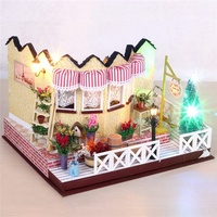 Hoomeda LY001 Herb Tea Vanilla Milk Tea House Handmake DIY Dollhouse With Music Light Cover Miniature
