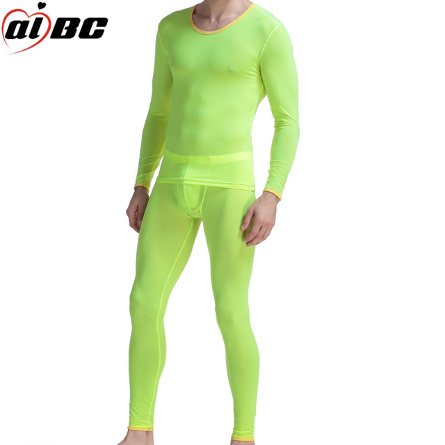 a6dd5bf31d8f36 R$ 77.57 |2 pçs/set (camisa + calça) Do Corpo Aparar Conjunto Mais Quente  Longo Johns Roupa Interior Dos Homens Cuecas De Seda Gelo Dos Homens De ...