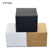 50pcs/lot 4x4x3cmKraft Paper Box Foldable Face Cream Packing Paperboard Boxes Jewelry Package Ointment Bottle