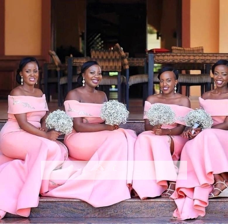 Pink 2018 Cheap   Bridesmaid     Dresses   Under 50 Mermaid Off The Shoulder Satin Long Wedding Party   Dresses   For Women
