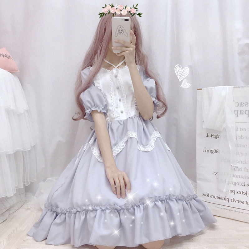 Summer Japanese Lolita Vintage Dress Lolita Dress Female Soft Girl Wind Cute Fungus Lace Dress Short Sleeve Dress Cute