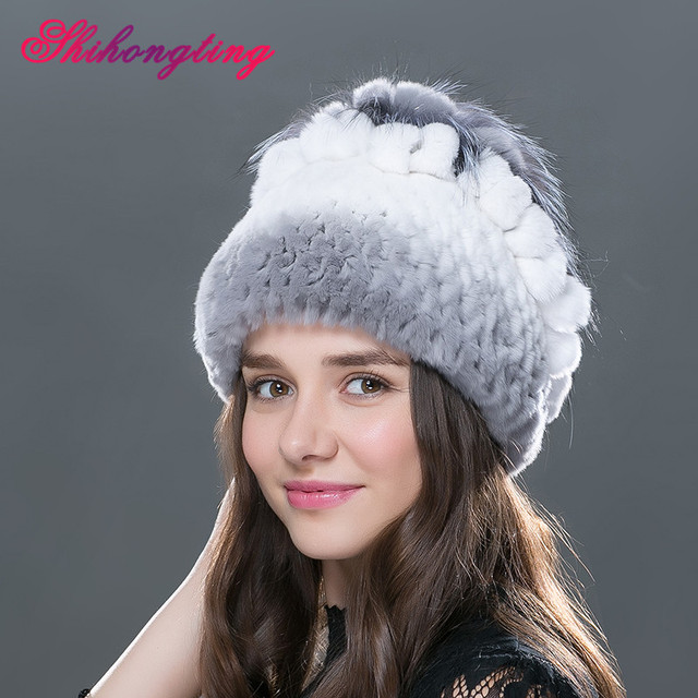 Warm Natural Fur Skullies Beanies Female Small Fox Shape Thick Hat Winter Hats Paisley Black White Striped Caps Tampas TM-10