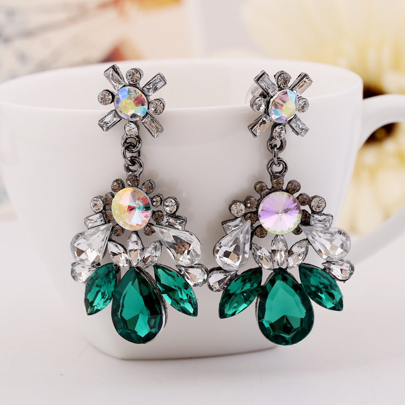 European and American exaggerated long section Crystal earrings  12pcs/lot jewelry Wholesale accessories