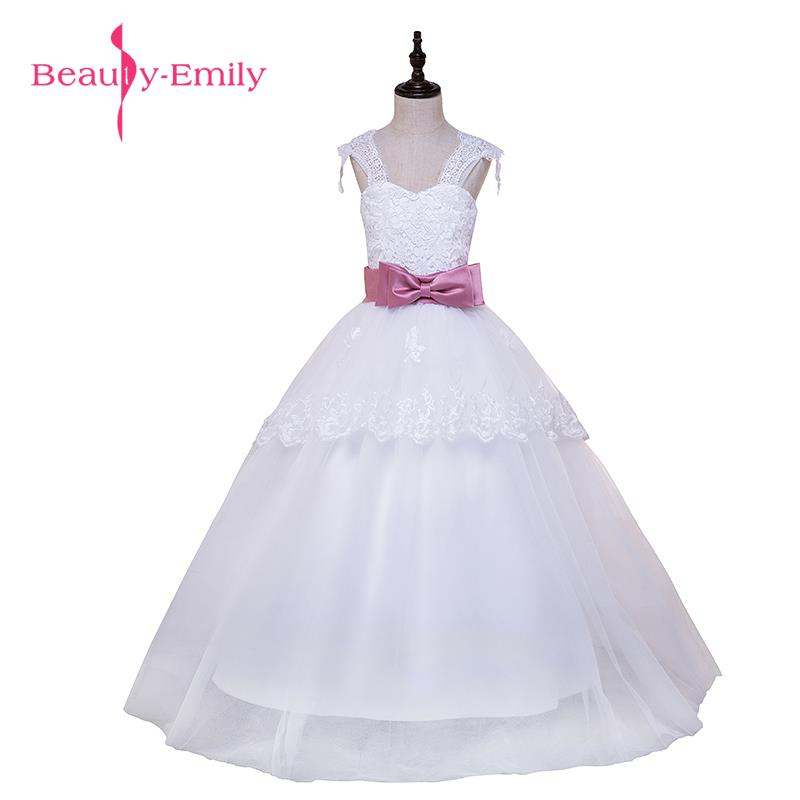 2017 New Cheap White   Flower     Girls     Dresses   For Wedding Gowns Cap Sleeve Lace Sash Bow   Girl   Birthday Party   Dress   Zipper Tulle Page