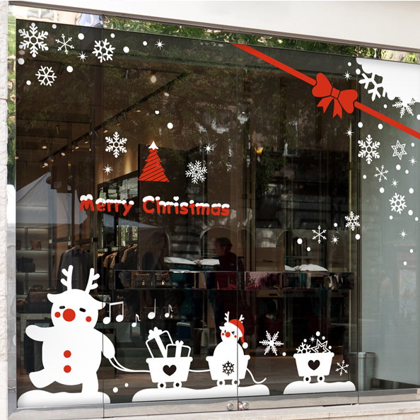 DCTAL Large Christmas Buck Sticker X mas Decal Posters Vinyl Wall Decals Decor Mural Glass Shop Window Home Decoration