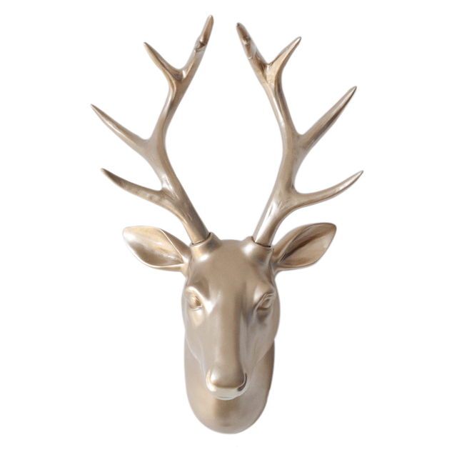 Original European Resin Deer Head Hanging Animal Three-dimensional Hanging Living Room Bedroom Photos Wall Decoration Retro Styl