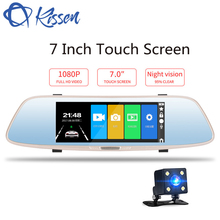 Kissen 7 inch Full HD 1080P Dash Cam DVR Dash Camera Rearview Mirror Touch Screen Dual Lens Video Recorder Auto Car Camera DVR