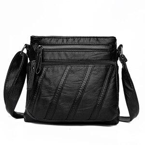 Image 2 - Annmouler Fashion Women Crossbody Bag Soft Washed Leather Purse Handbag Pu Leather Shoulder Bag Small Black Messenger Bag